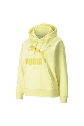 Puma Kadın Sweatshirt Classics Logo Hoodie - Sarı