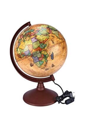 Brons Antik-ışıklı Dünya Küre 30 Cm. Çap