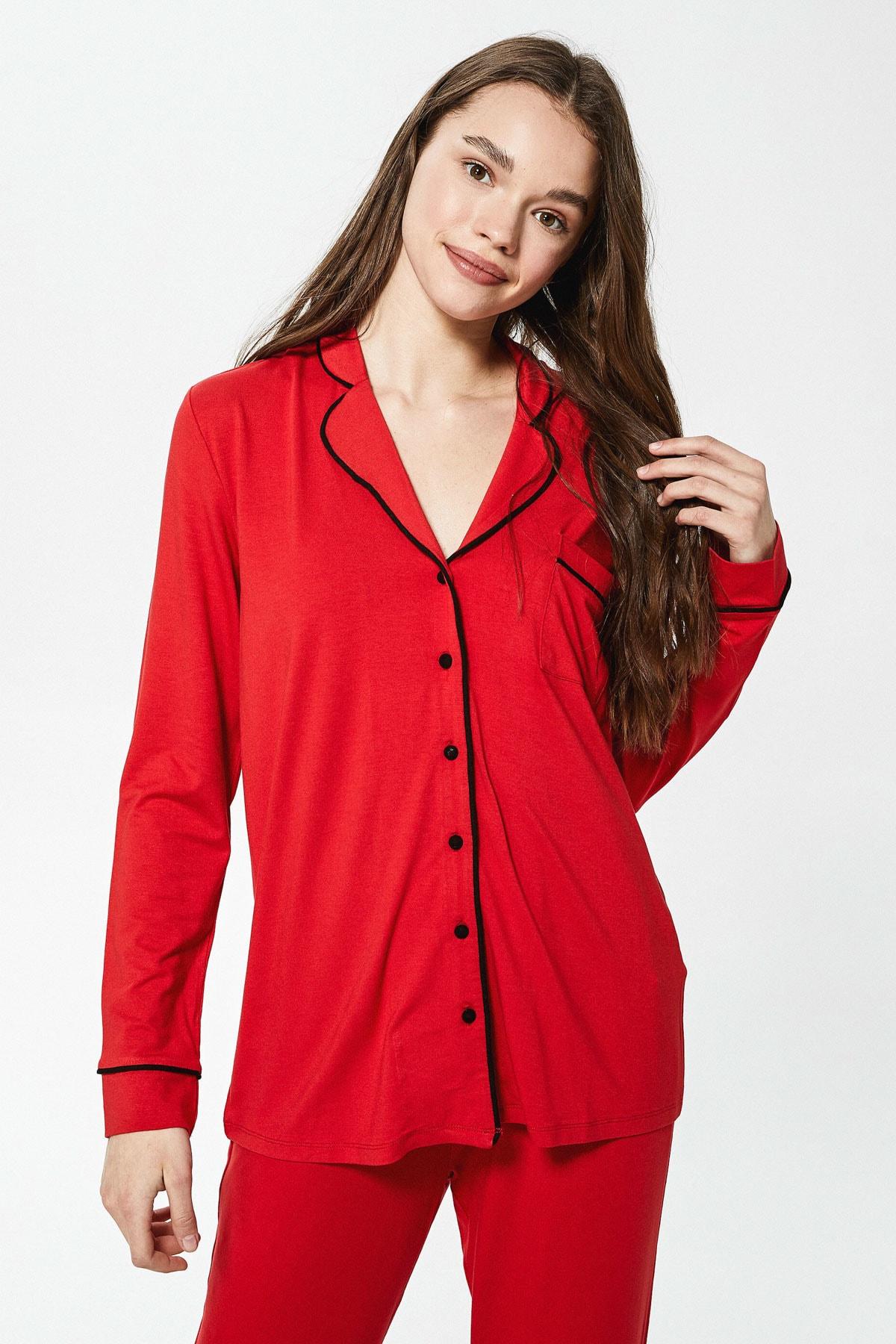 LC Waikiki Kadın Canlı Kırmızı LCW DREAM Pijama Takım 2