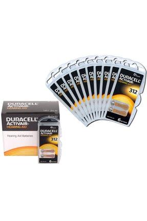 Duracell Active Air 312 Numara Işitme Cihaz Pili (10 Paket = 60 Adet)