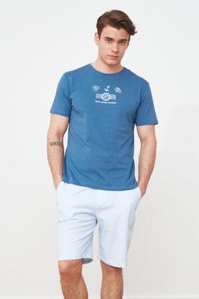 TRENDYOL MAN Mavi Baskılı Örme Pijama Takımı THMSS21PT0325