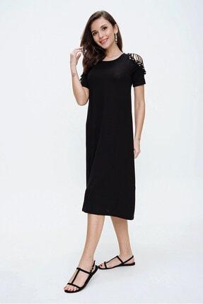 By Saygı Kolları Güpür Boncuk Detaylı Likra Elbise Siyah