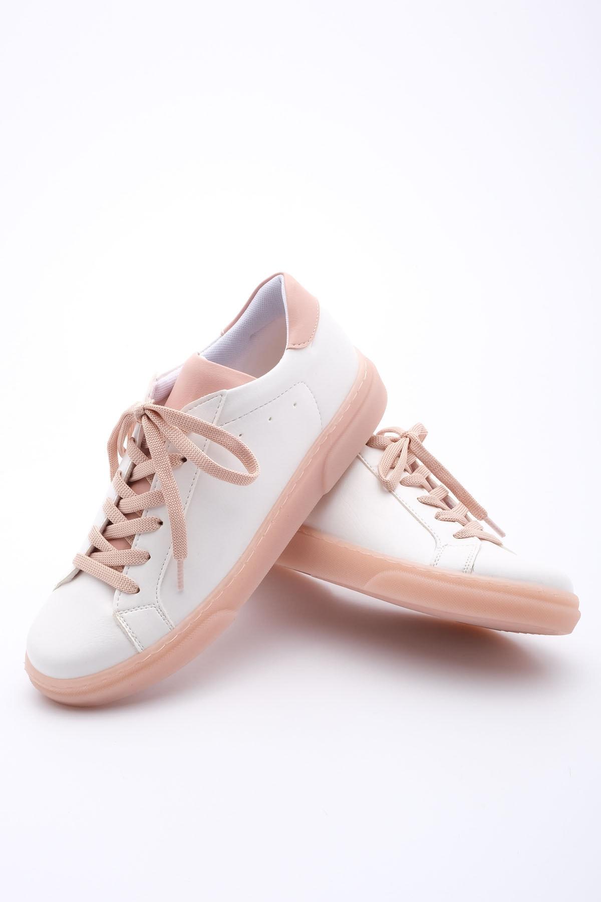 Marjin Kadın Pudra Beyaz Sneaker Ayakkabı Riyo 1