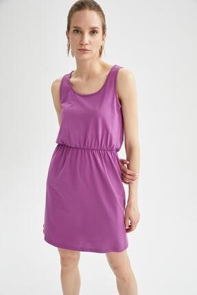 DeFacto Kadın Pembe Relax Fit Beli Büzgülü Askılı Basic Elbise