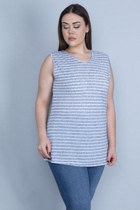 Şans Kadın Mavi V Yakalı Çizgili Viskon Bluz 65N23040
