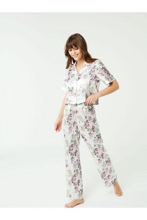 NBB Kadın Gülkurusu Saten Gömlek Pijama Takım 3369