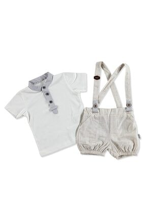 Bebemania Kız Bebek Açık Kahverengi Kareli Askılı Gömlek - Şort 2'li Takım