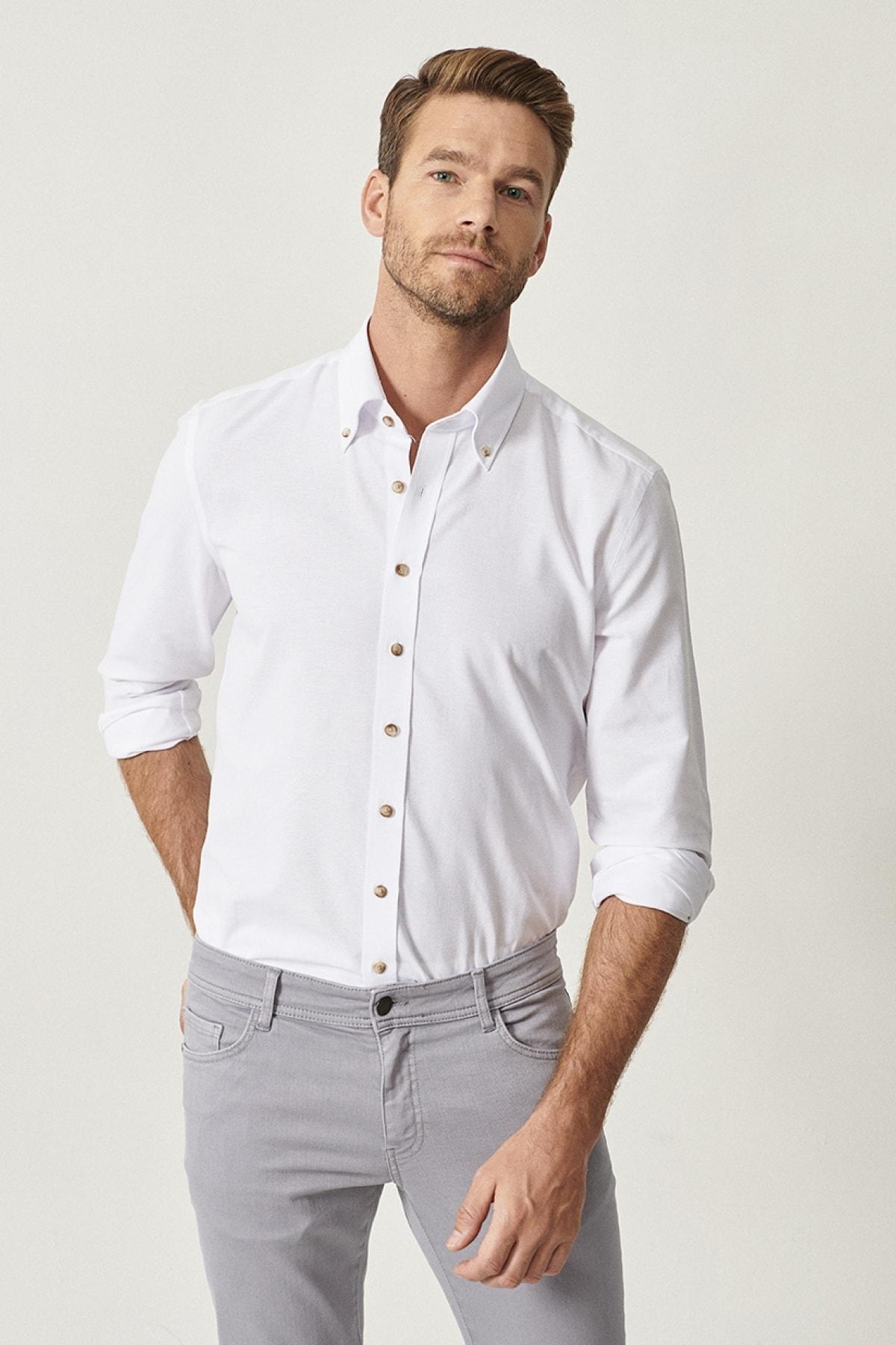AC&Co / Altınyıldız Classics Erkek Beyaz Düğmeli Yaka Tailored Slim Fit Oxford Gömlek 2