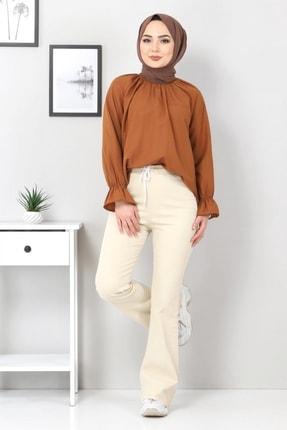 Tesettür Dünyası Kadın Bej İspanyol Paça Kot Pantolon Tsd22014