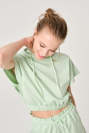 Dagi Kadın Mint Yeşili Kapüşonlu Sweatshirt