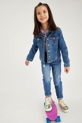 DeFacto Kız Çocuk Mavi Jean Ceket