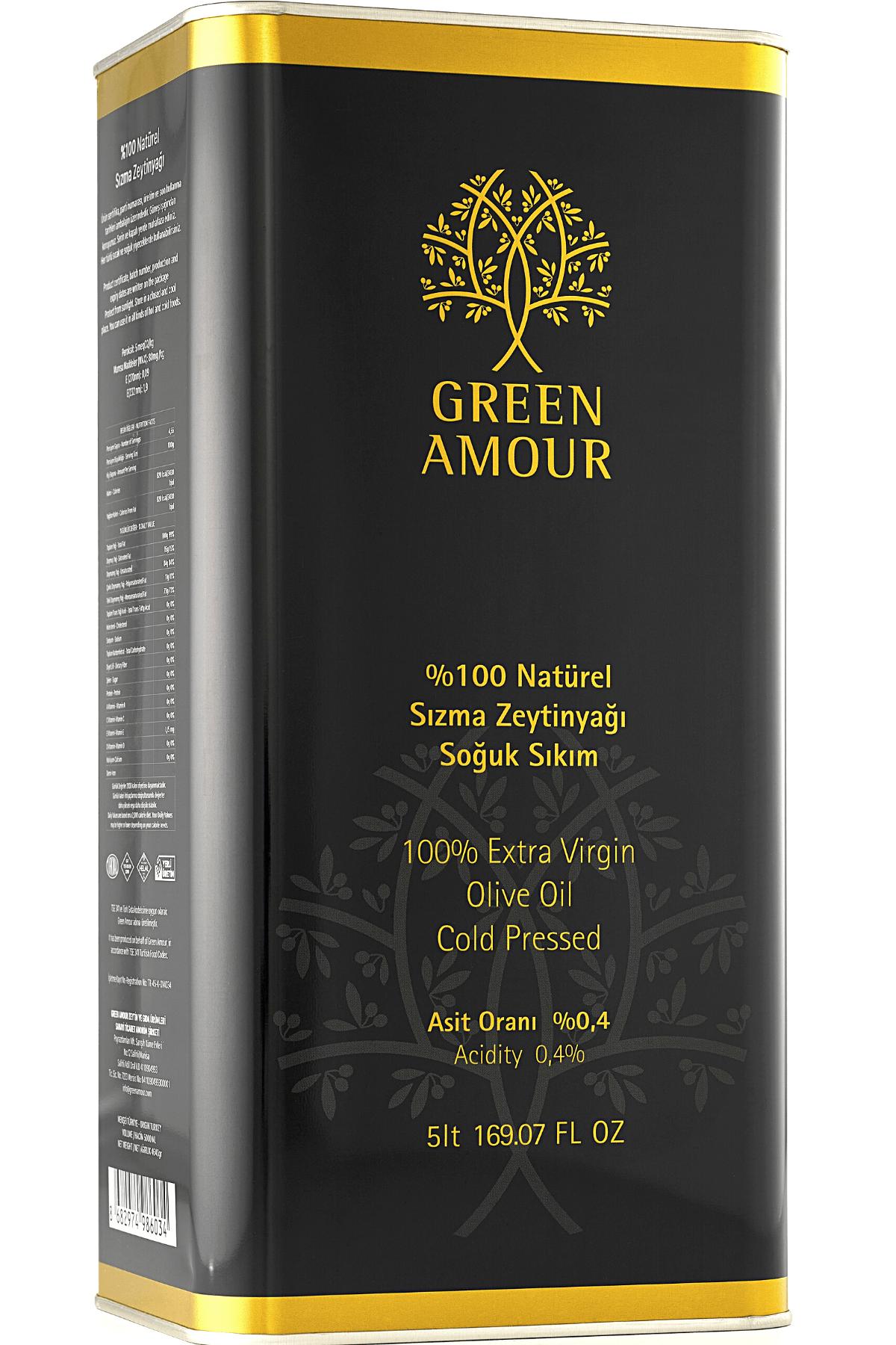 Green Amour Yeni Hasat %100 Natürel Sızma Zeytinyağı Soğuk Sıkım Düşük Asit - Yüksek Polifenol 5 lt 1