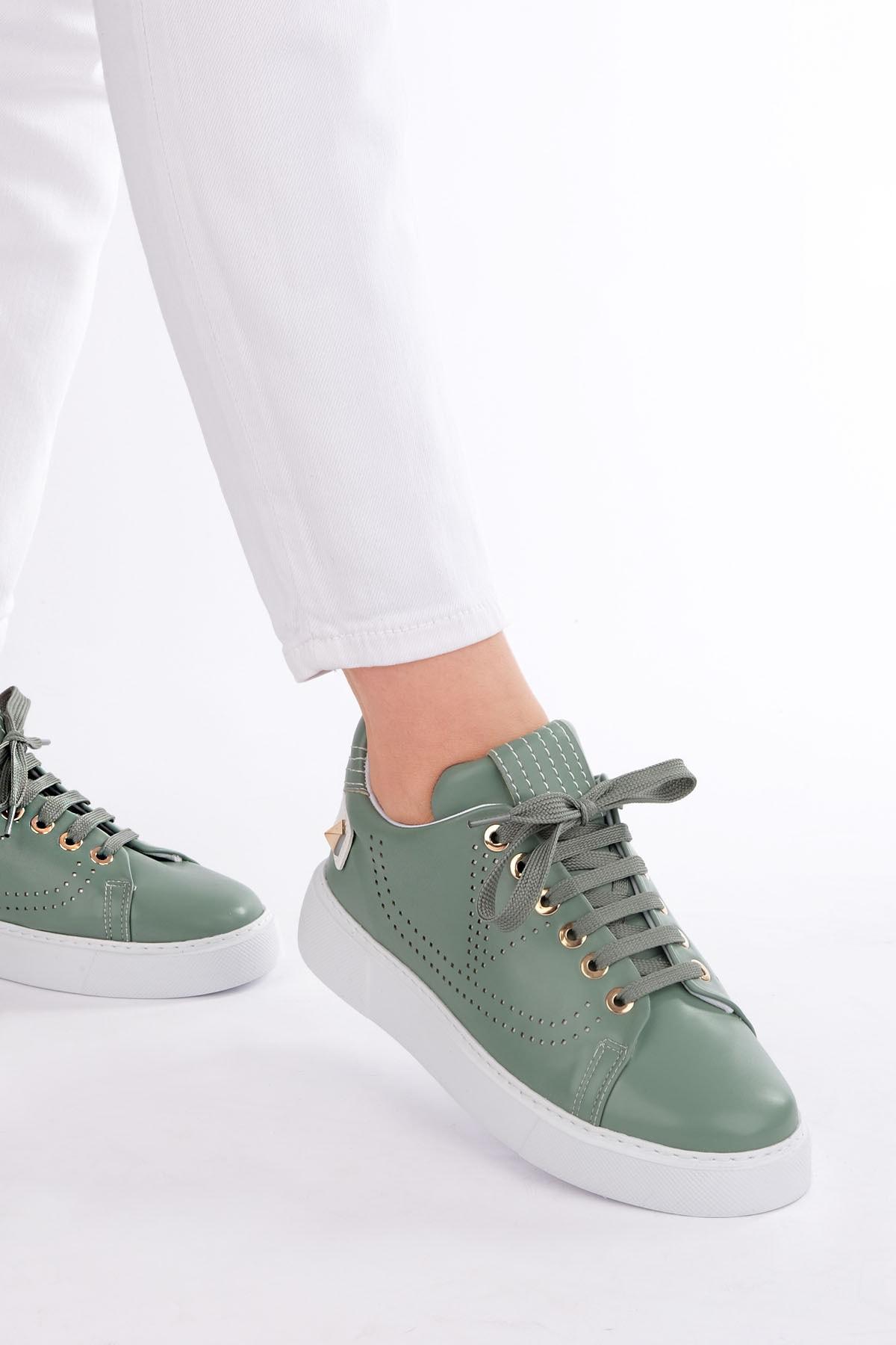 Marjin Kadın Yeşil Sneaker Spor Ayakkabı Volares 2