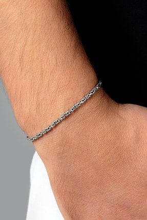 Ventino Silver Erkek Kral Kare Gümüş Zincir Bileklik Veb-5001