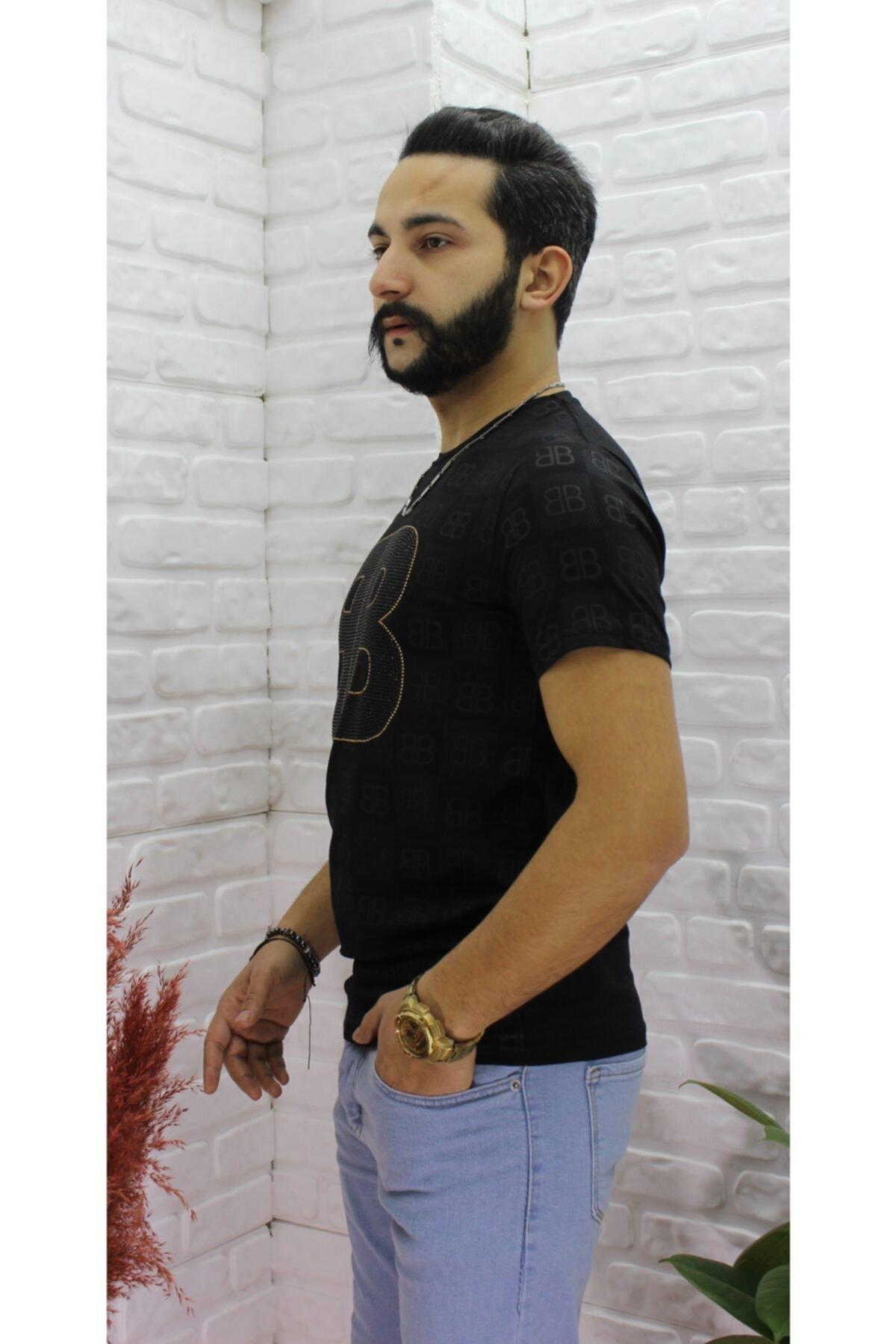 Yusuf Tarar Men Fashion Erkek Siyah Baskılı T-shirt 2