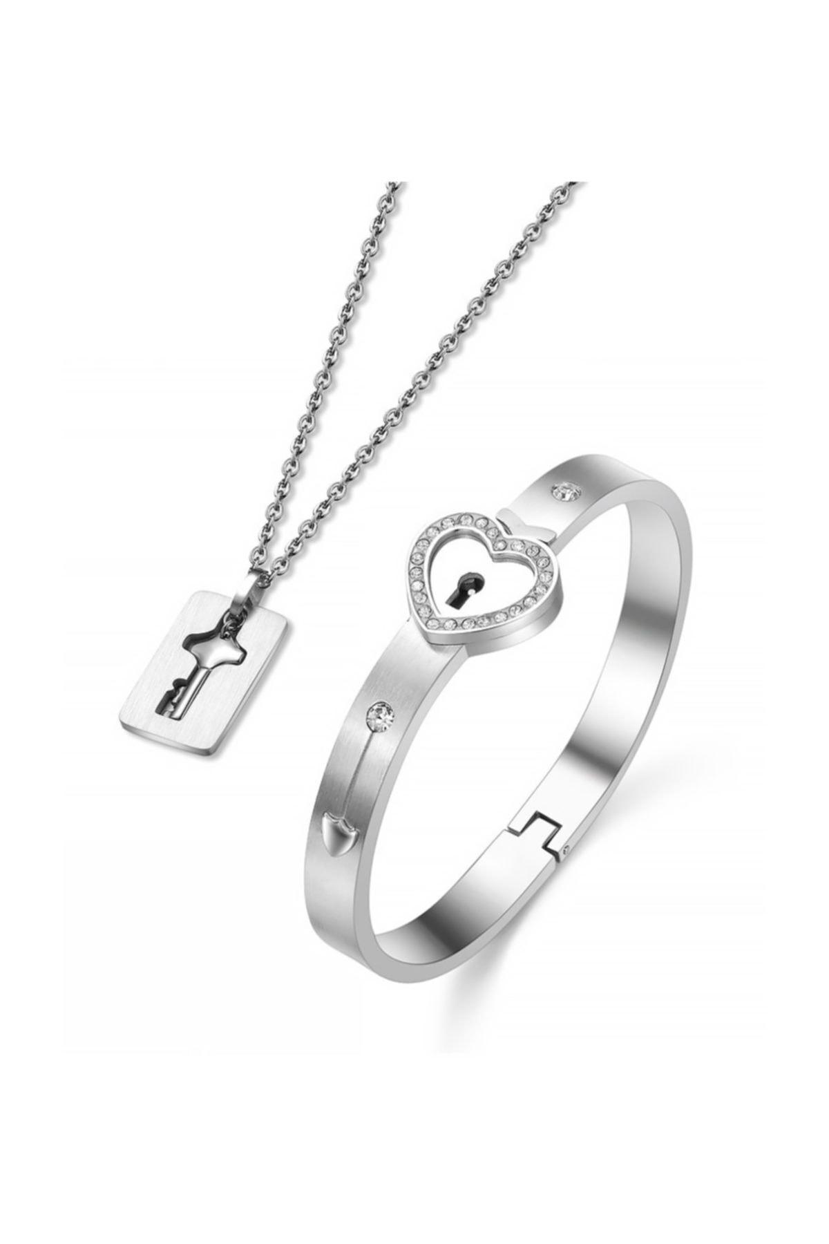 Chavin Anahtarlı Sevgiliye Çelik Kolye Taşlı Bileklik Set Ec93by 1