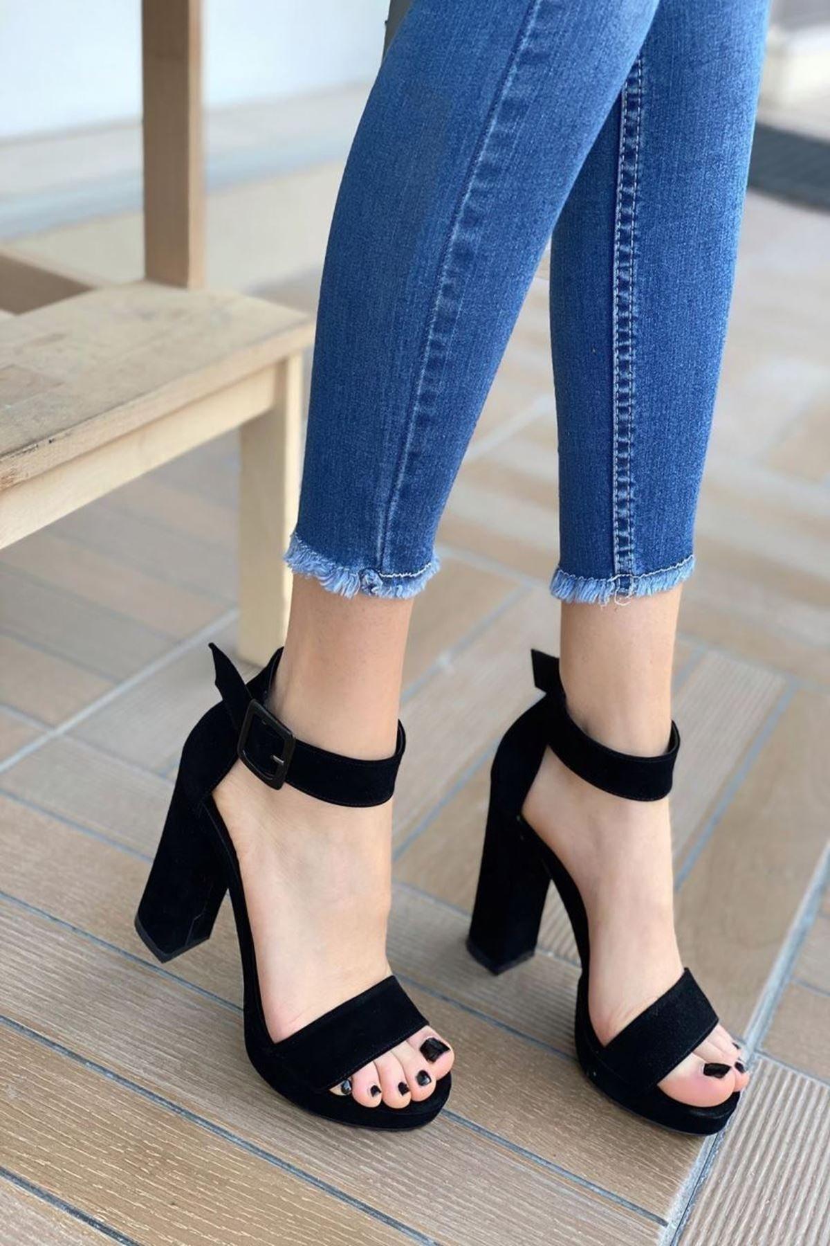 MODAADAM Kadın Margaret Süet Topuklu Ayakkabı Siyah 2