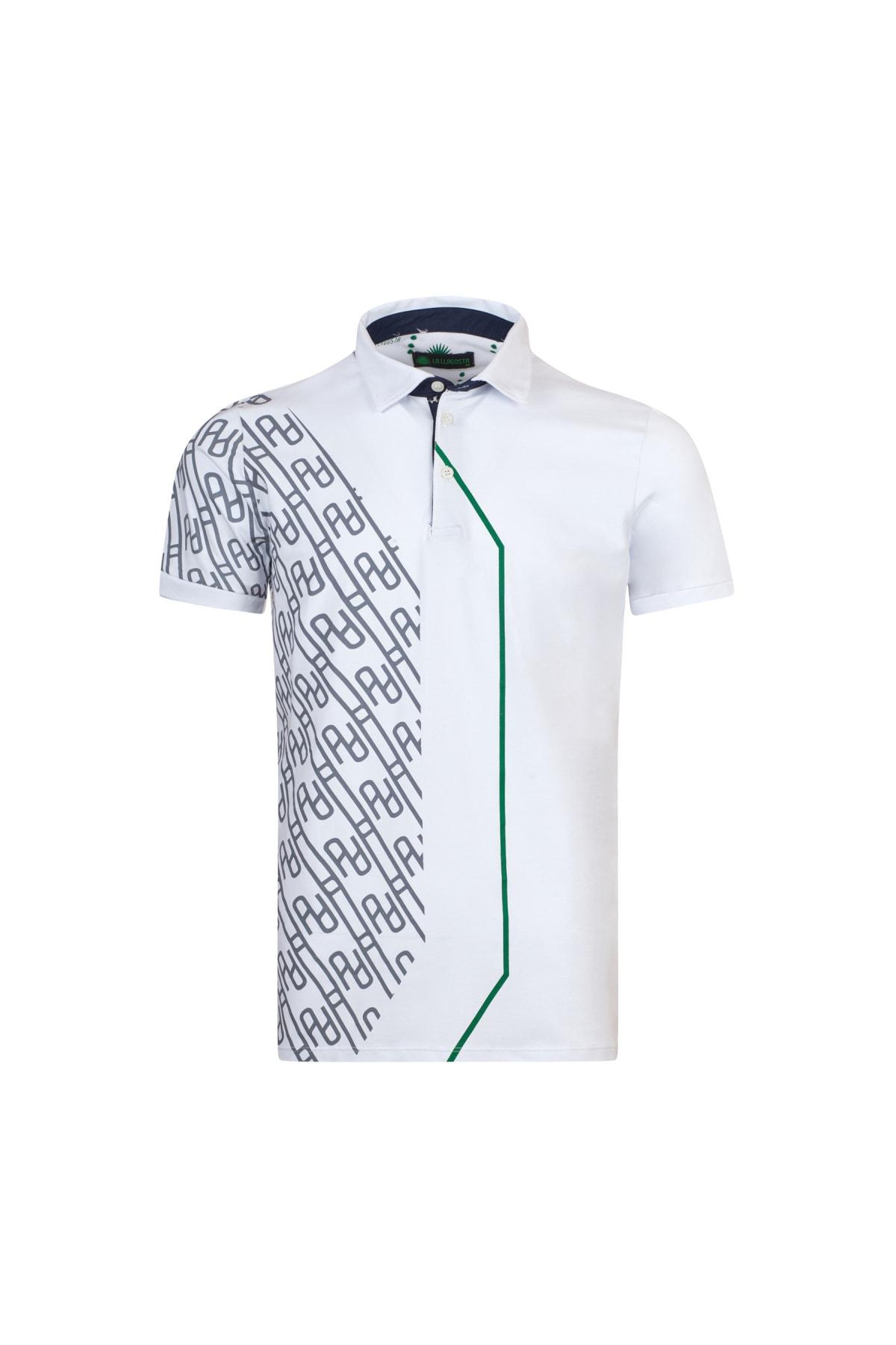 LAYYAGOSTA Erkek Beyaz Polo Yaka T-shirt 1