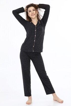 ModaPijama Kadın Siyah Pamuklu Önden Düğmeli Uzun Kollu Pijama Takımı