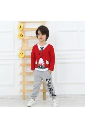 Moschino Erkek Çocuk Kırmızı Mickey Baskılı Takım 3'lü