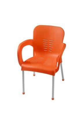 Comfort 2 Adet Alüminyum Ayaklı Turuncu Plastik Sandalye