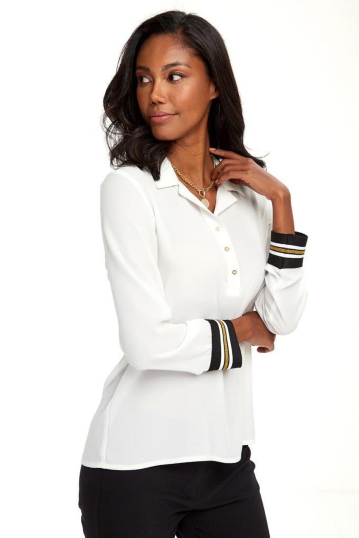İKİLER Kadın Beyaz Yakası Patlı Düğmeli Kolları Simli Bantlı Bluz 020-3000 1