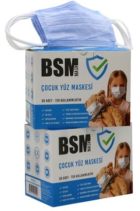 BSM Mavi Yassı Lastikli 3 Katlı Meltblown Cerrahi Çocuk Maskesi Toplam 100 Adet