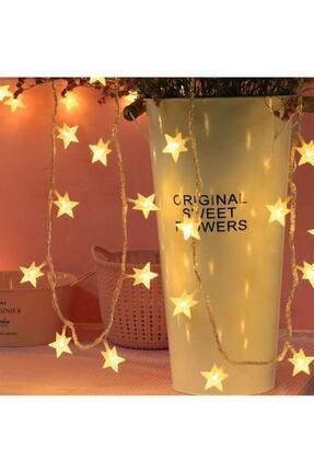 MASTEK Led Işıklı 30 Kristal Yıldız Dizeleri 4,5 Metre (Sarı Renkli) Pilli Dekoratif Lamba