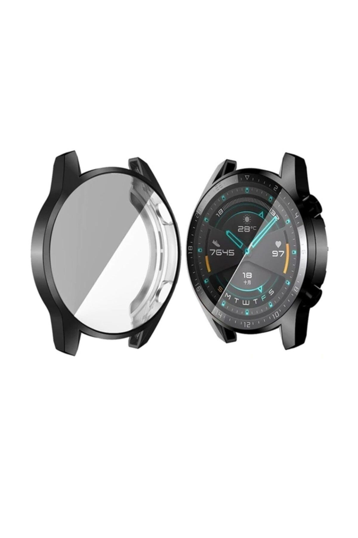 Ally Huawei Watch Gt 2 46mm 360 Koruma Ultra Ince Silikon Kılıf - Siyah 1