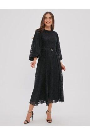 Kayra Güpürlü Balon Kol Elbise Siyah A20 23122