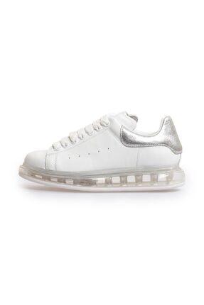Flower Beyaz Gümüş Deri Şeffaf Taban Kadın Sneakers
