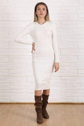 Arlin Kadın Fitilli Simit Yaka Uzun Kol Badi Örme Triko Kemik Elbise