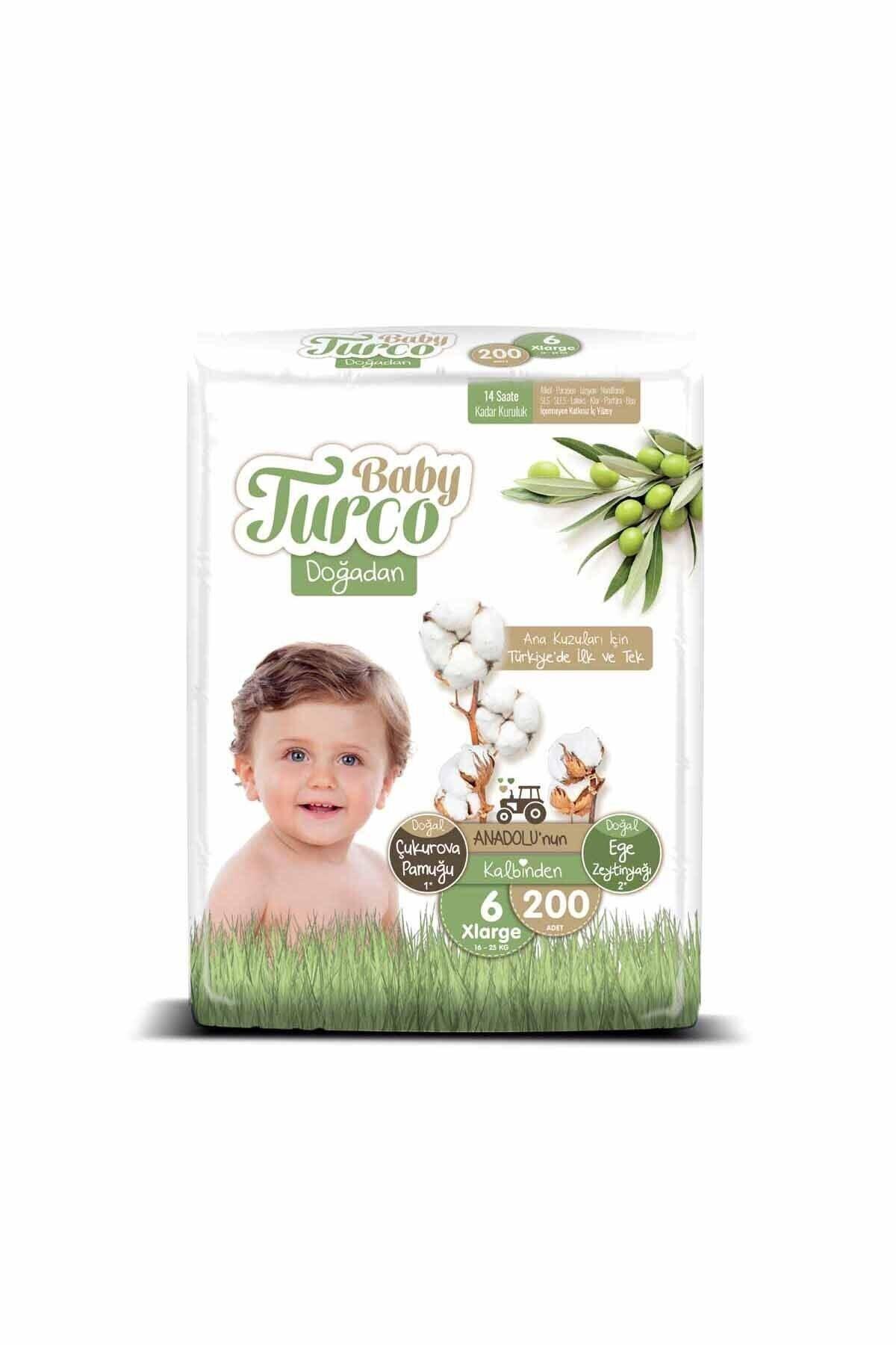 Baby Turco Doğadan 6 Numara Xlarge 200 Adet Bebek Bezi 2