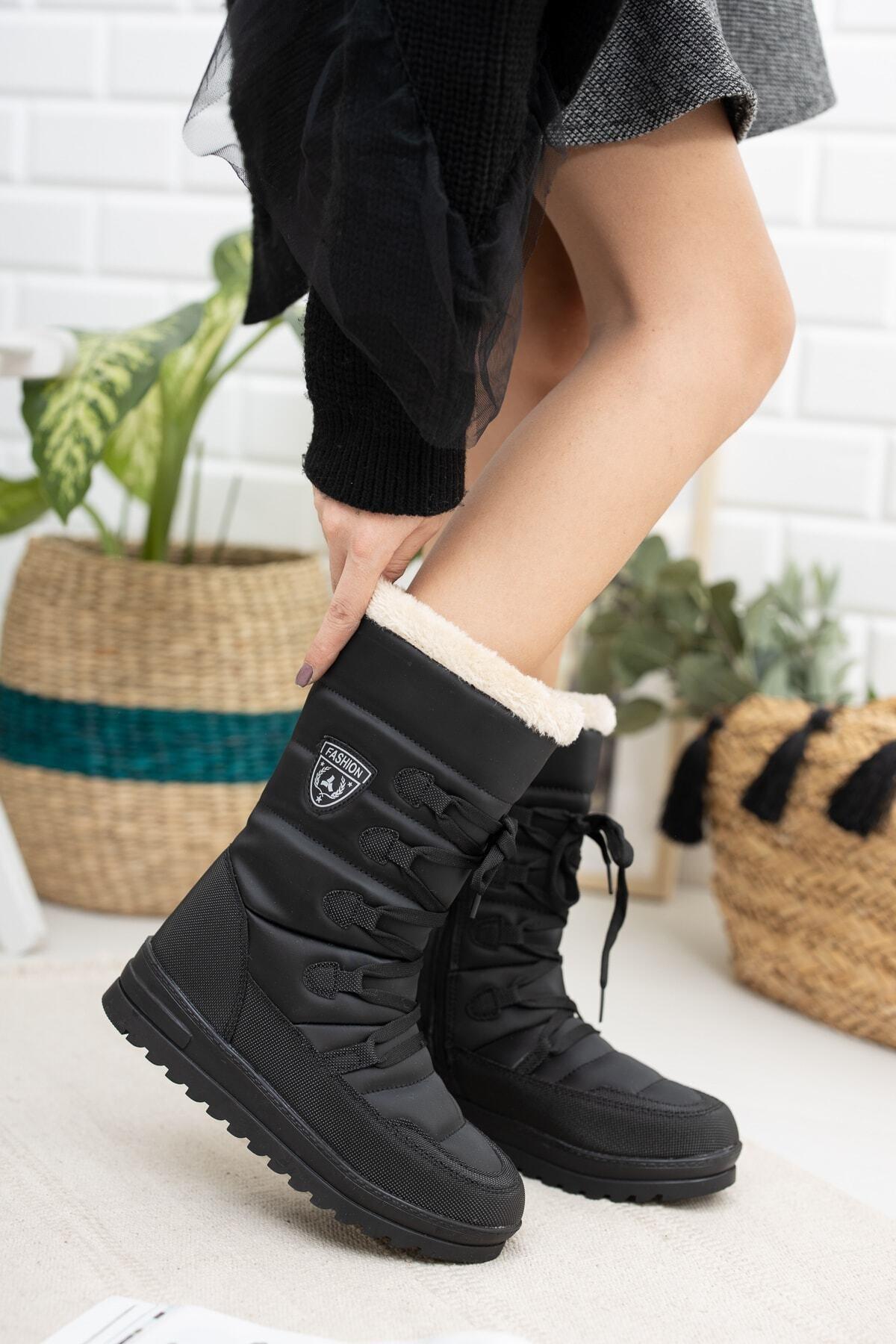 Twingo 995 Kürklü Kadın Soğuk Geçirmez Bot Ayakkabı 1