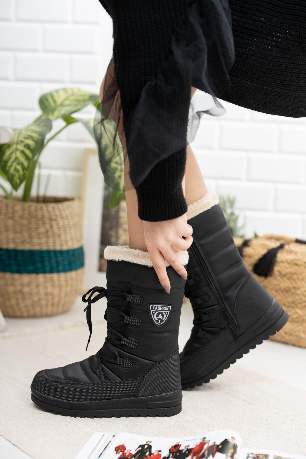Twingo 995 Kürklü Kadın Soğuk Geçirmez Bot Ayakkabı 2