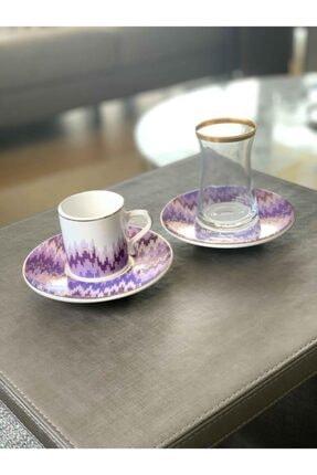 The Mia 18 Parça Kahve Fincanı Ve Çay Seti Lila Renk