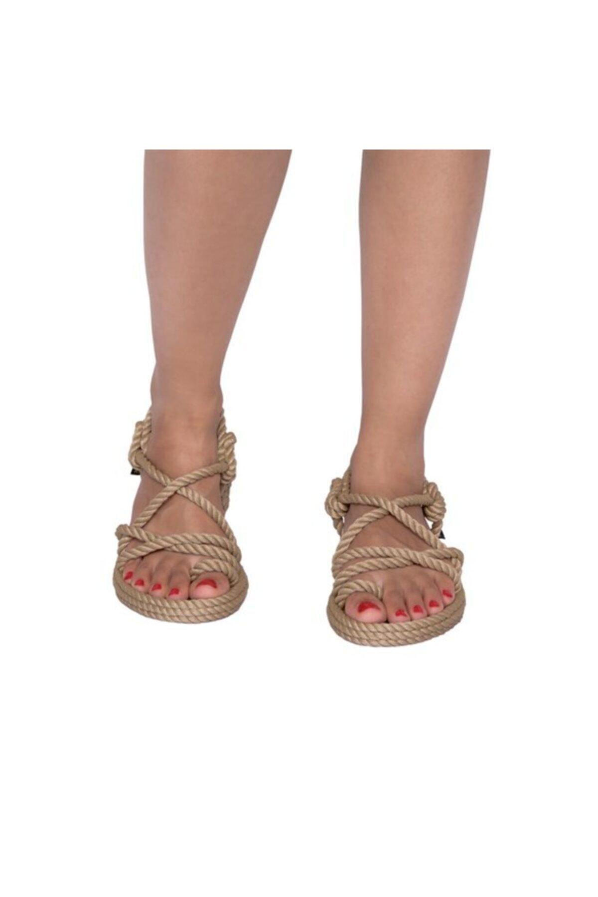 Nomadic Republic Ibiza Kadın Halat Sandalet - Bej 2