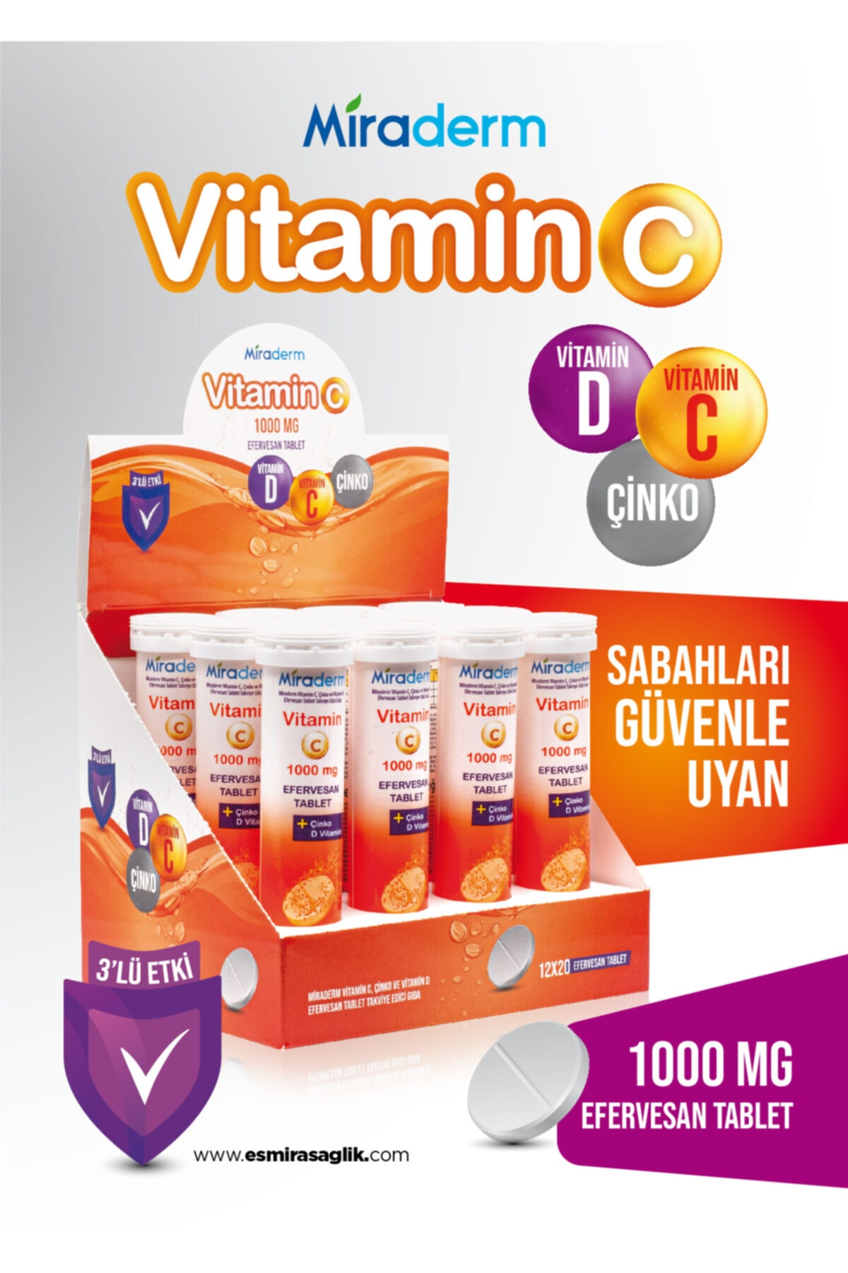 Miraderm C Vitamini 3 Lü Etki 1000 Mg 20 Efervesan 2