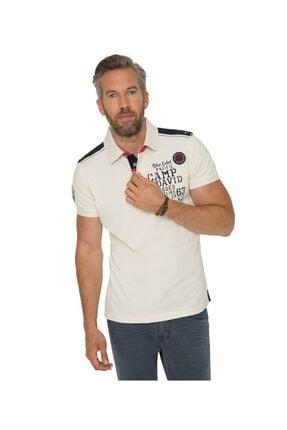 Camp David Erkek Polo Yaka Krem T-shirt