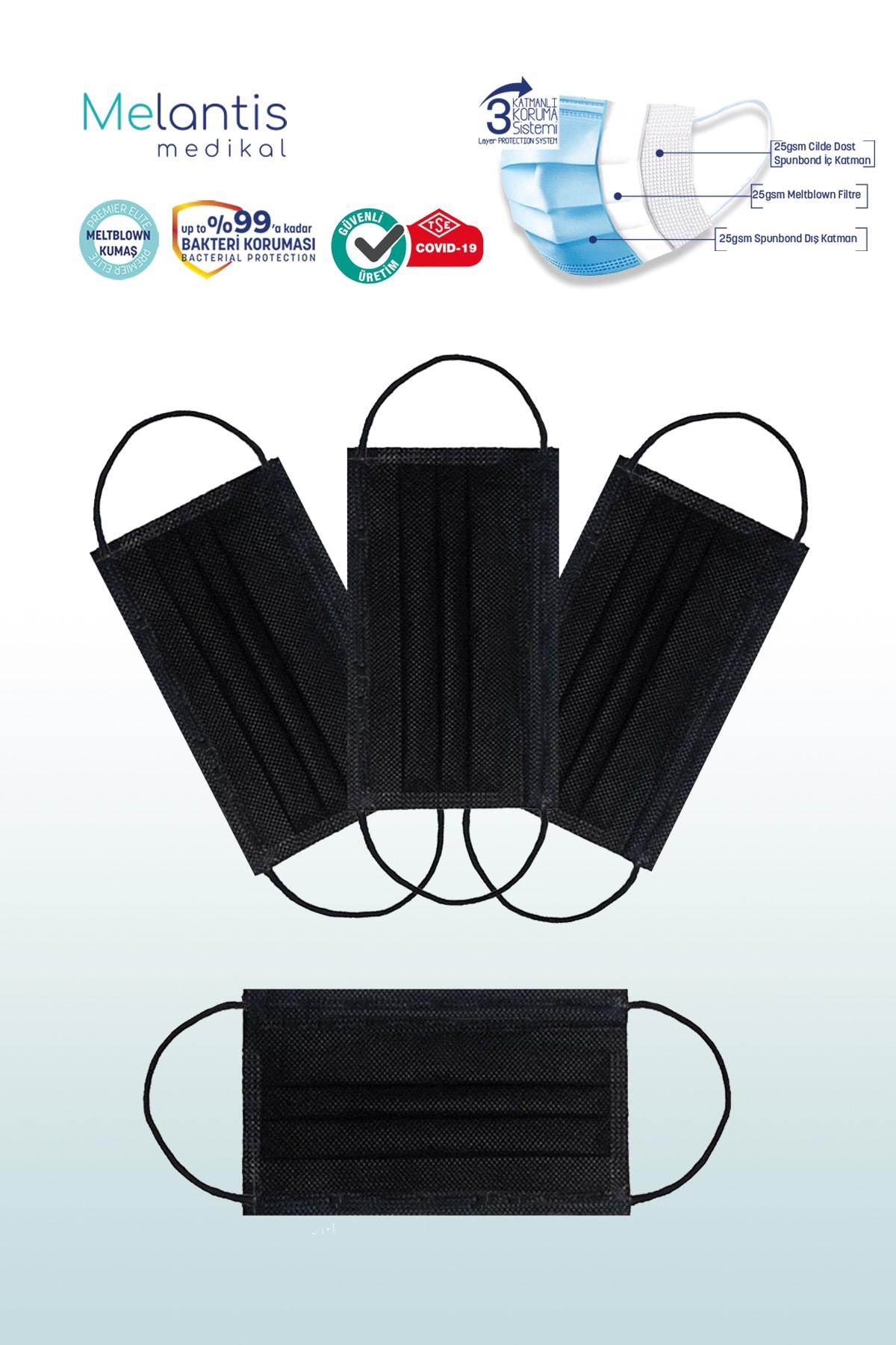 Melantis Medikal Tek Kullanımlık 3 Katlı Telli Cerrahi Maske 50 Adet X 2 Kutu Siyah 2