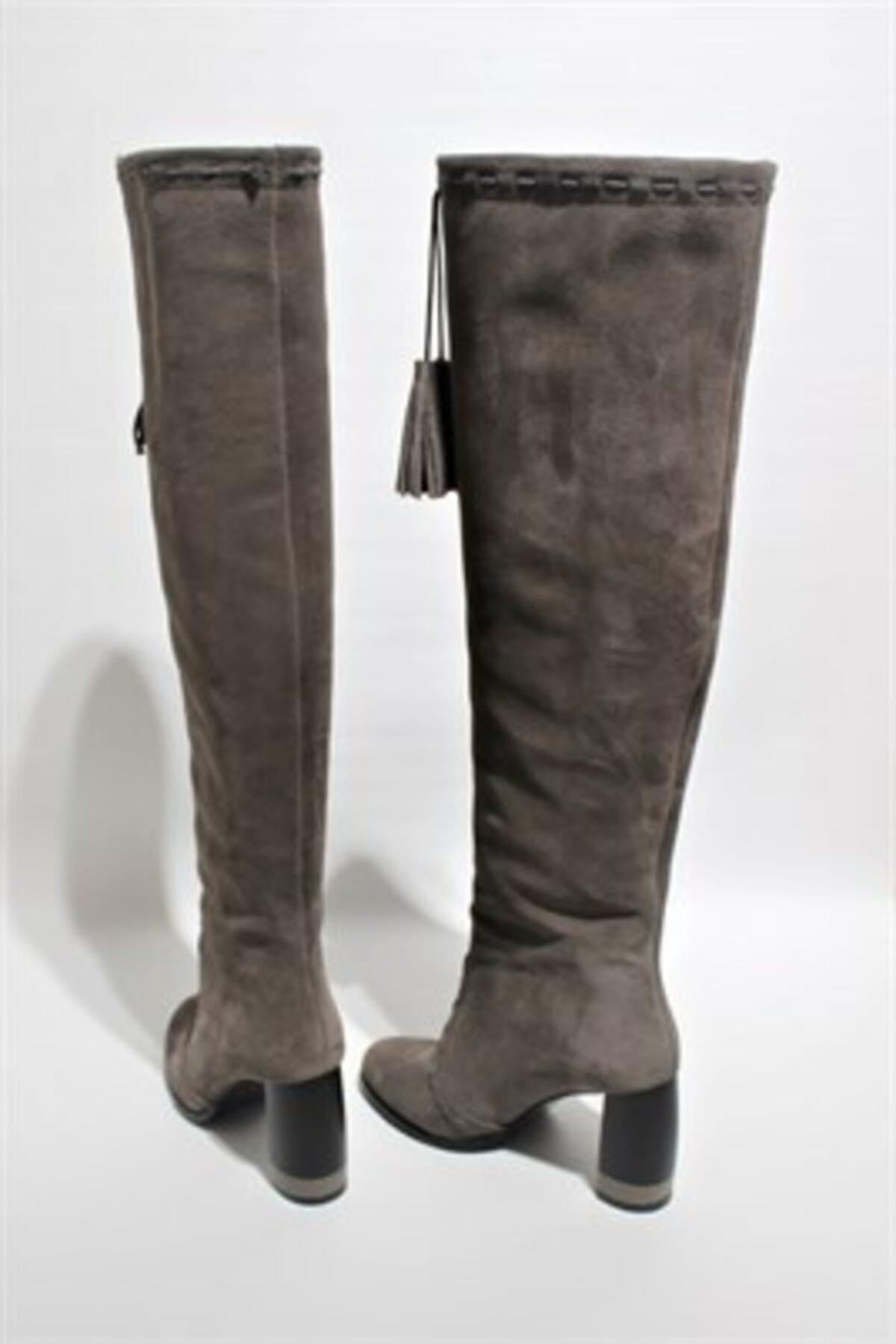 LIMERENCE AYAKKABI Kadın Füme Diz Üstü Püskül Detaylı Çizme 2