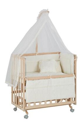 Babycom Anne Yanı Naturel Boyasız 50*90 Ahşap Beşik - Tekerlekli + Krem Uyku Seti