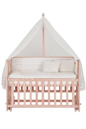 Babycom Naturel Ahşap Boyasız Anne Yanı Beşik 70 X 130 Cm Kademeli Beşik + Uyku Seti