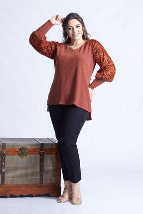 Moda Berray Kadın Tarçın Pullu Kol Büyük Beden Triko Bluz