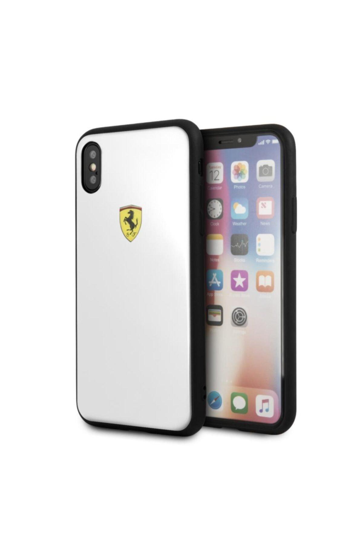 Ferrari Lisanslı Iphone X Beyaz Kılıf Hard Case 1