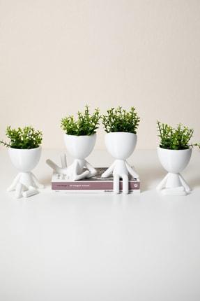 XYZ SAKSI Insansı Saksılar Beyaz Dörtlü Set Yapay Çiçekli