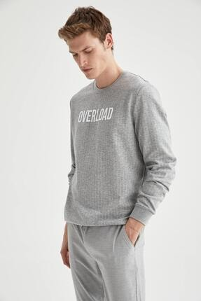 DeFacto Erkek Gri Overload Baskılı Regular Fit Bisiklet Yaka Sweatshirt
