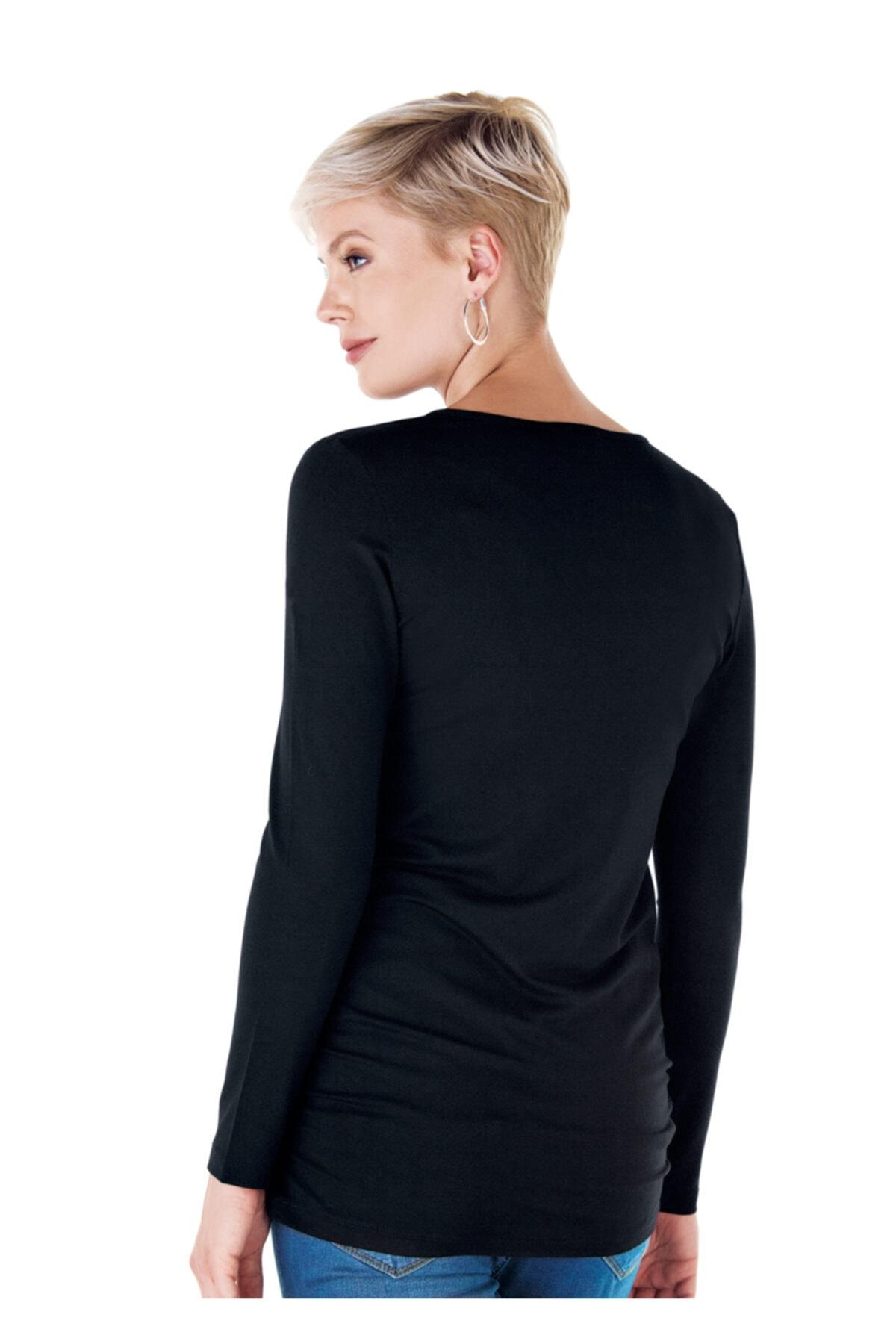 Ebru Maternity 4256 - Yuvarlak Yaka Hamile Basic Tişört Siyah 2