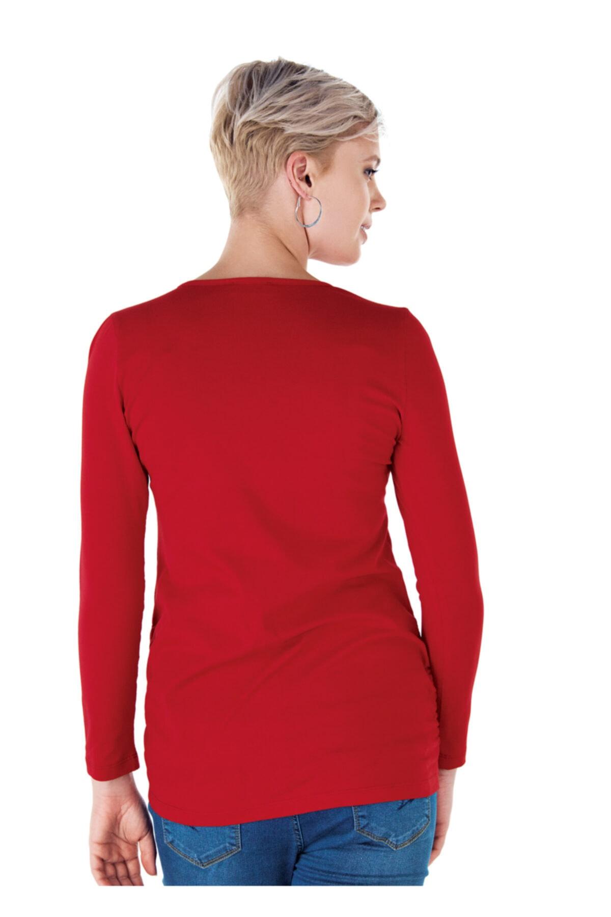 Ebru Maternity 4256 - Yuvarlak Yaka Kırmızı Hamile Tişörtü 2