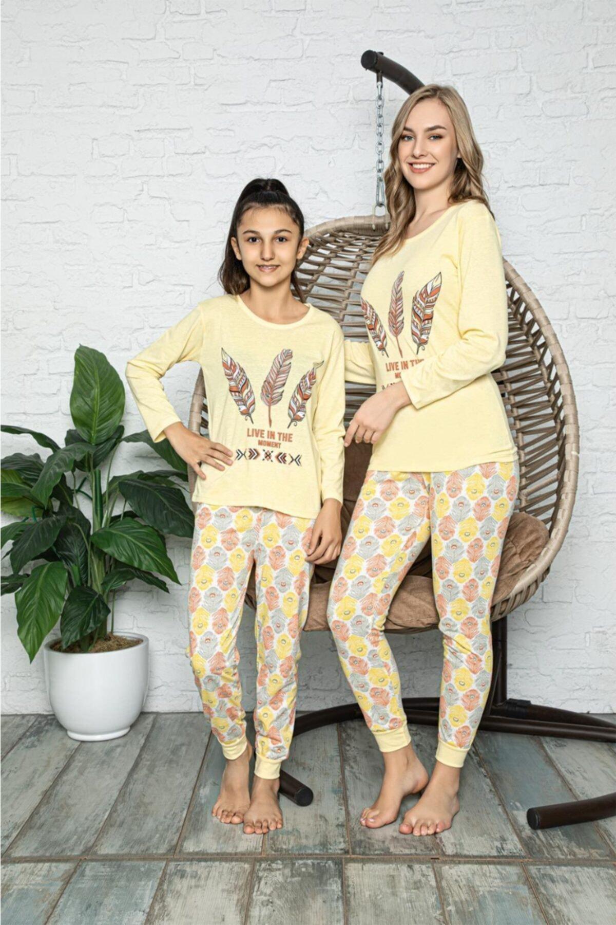Souffle Boutique Kuş Tüyü Baskılı Sarı Anne Kız Kombin Pijama Takımı 1